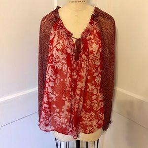 Red Free People Blouse